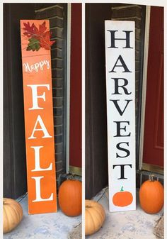 """Handpainted wooden """"Harvest"""" or """"Happy Fall"""" sign, porch decor, garden ornament, deck decor, spring - - Fall Wood Signs, Fall Signs, Fall Boards, Blue Christmas Decor, Wooden Door Signs, Front Porch Signs, Deck Decorating, Fall Halloween, Halloween Crafts"""