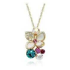 Magical Austrian Crystal Flower 18K Rose Gold Necklace