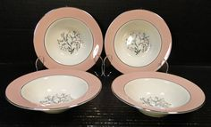 Homer Laughlin Cavalier Springtime Berry Bowls Pink Set of 4 Excellent Vintage Dinnerware, Homer Laughlin, Dessert Bowls, Egg Shells, Cavalier, Spring Time, Decorating Your Home, Floral Design, Berries