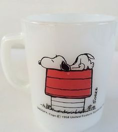 Fire King Anchor Hocking Snoopy Peanuts I Think I'M Allergic to Morning Mug Cup | eBay