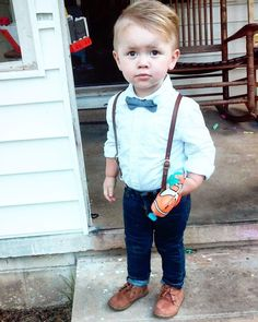 Ultimate toddler boy style - suspenders, skinny jeans, shirt and a bow tie! What more could you want for your summer parties?