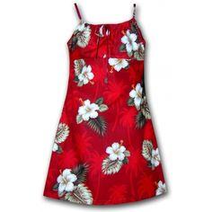 Robe fillette big island rouge - www.couleurtropiques.com