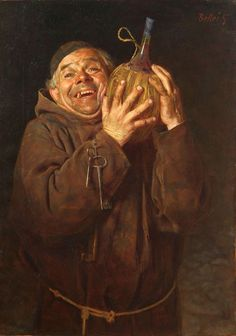 """Bellei Gaetano (Modena, 1857-1922) """" Monk with bottle of wine"""" Oil on canvas 