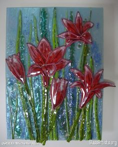 """Field of Red Flowers"". Fused glass."