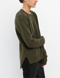 Organic by John Patrick Combo Pullover with Tail- Olive