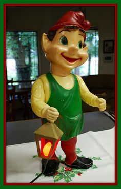 *VINTAGE ~ made of hard plastic, 2' tall, head + arms poseable w/ springs inside, c. 1940's-50's.