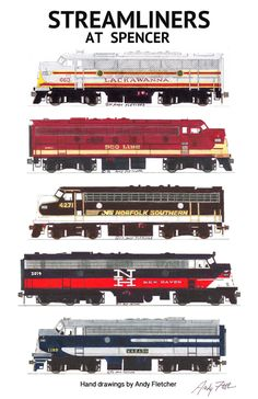 "An 11""x17"" poster with some of Andy Fletcher's hand drawings of 5 of the locomotives that attended Streamliners at Spencer 2014."