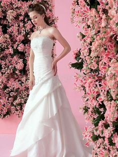 A-Line With White Color in Chapel Train Wedding Dress