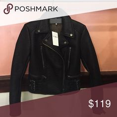 Free People Vegan Leather Jacket Super cute Moto jacket by free people! Brand new with tags! Super cute with jeans or over a dress!! Free People Jackets & Coats