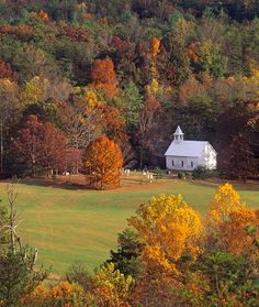 Cades Cove - Just a small country church tucked away in the mountains of  Tennessee - country living at it's best.