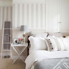 White And Grey Bedroom Crisp Bedlinen Striped Wallpaper A Butlers Tray Give The
