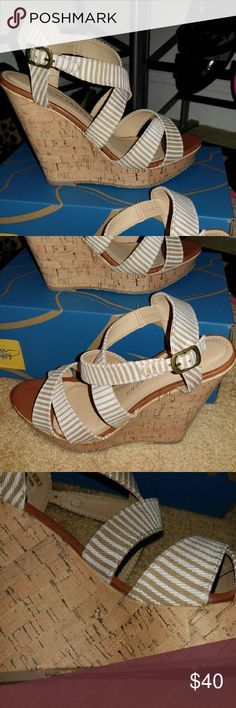 Brand New Strappy Cork Wedges by Chinese Laundry Bought just this summer and haven't had the chance to wear. They are beautiful and will go with so much. Chinese Laundry Shoes Wedges