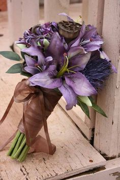 Woodsy Lavender Tiger Lily and Brown Bride Bouquet - Wedding Stuff Purple Wedding Bouquets, Floral Bouquets, Wedding Flowers, Bouquet Bride, Bow Bouquet, Boquet, Bouquet Wedding, Bridesmaid Bouquet, Deco Floral