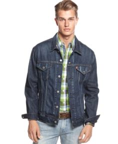 $69, Relaxed Denim Trucker Jacket by Levi's. Sold by Macy's. Click for more info: http://lookastic.com/men/shop_items/65801/redirect