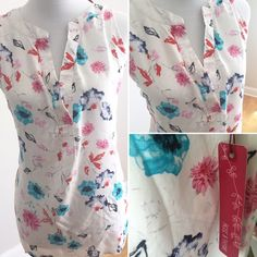 Rose & Thyme floral sleeveless blouse Super feminine Rose & Thyme sleeveless floral blouse. Loose & flowing fit for comfort & style! NWT. Size XL. Underarm to underarm is approx 24 inches and length is 28 inches. Thanks for shopping my closet  Rose & Thyme Tops Blouses