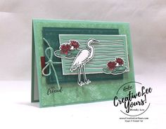 Tranquil Lake-Printable Tutorial - Creativelee Yours Bee Cards, Stampin Up Catalog, Cards For Friends, Stamping Up, Homemade Cards, Lily Pad, Stampin Up Cards, Cardmaking, Paper Crafts