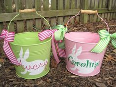 Personalized Easter Bucket assorted colors by twosisters76 on Etsy