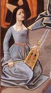 burgundian-hennin--transitional, hennin with the beginning of the square neck gown