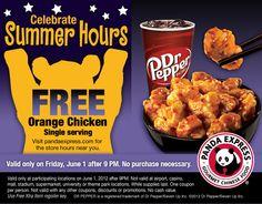 PANDA EXPRESS $$ Reminder: Coupon for FREE Orange Chicken – TODAY (6/1)!