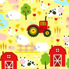 Excited to share the latest addition to my #etsy shop: GREEN FARM, Children's Cotton Farm Fabric by Timeless Treasures 44 Inches Wide http://etsy.me/2FibdIY #supplies #yellow #no #quilting #rainbow #cotton #yes #sewing #farmfabric