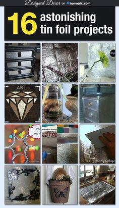 I curated a board for Hometalk featuring 16 Tin Foil Projects that I found from Hometalkers! Tin Foil is not just for wrapping up your left over food. Tin Can Crafts, Metal Crafts, Diy And Crafts, Recycle Crafts, Reuse Recycle, Aluminum Foil Crafts, Tin Foil Art, Metal Embossing, Metal Stamping