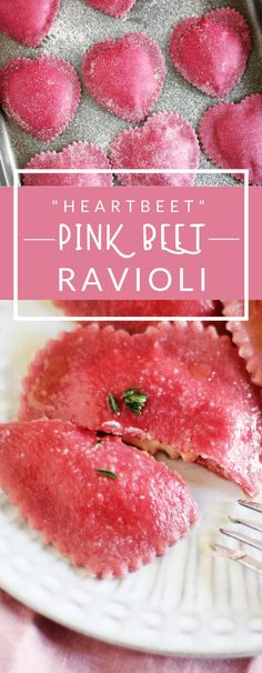 "Heart-shaped ""Heartbeet"" Ravioli is a delicious, whimsical recipe. This pink beet ravioli is filled with a goat cheese and ricotta filling and is perfect for Valentine's Day!"