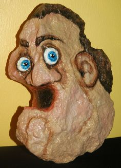 art, painted rock with face