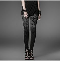 Black Gray Haunted Forest Gothic Leggings Tree Branch Leggings $9 To