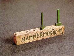 Henning Christiansen: Hammermusik/hammer music, Wood, paint, two hammers. Fluxus Art, Bucharest, Germany, Place Card Holders, Notes, Sculpture, Action, Paint, Wood