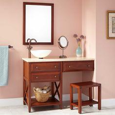 """48"""" Glympton Vessel Sink Vanity with Makeup Area - Cherry"""
