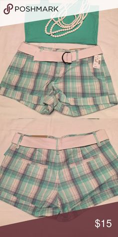 Maurices Plaid Shorts Maurices Plaid Shorts. Size 3/4. Teal and white. NWT Maurices Shorts