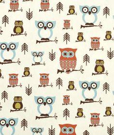 Premier Prints Hooty Village/Natural Fabric | onlinefabricstore.net