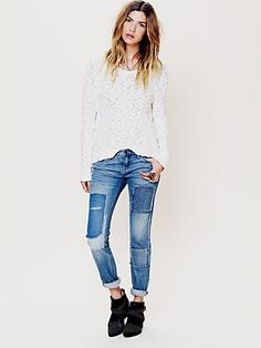 Love these Free People Patched Skinny Jean