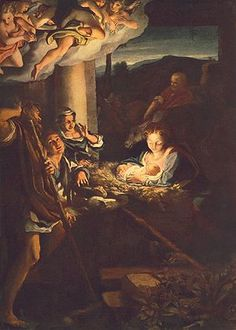 """Correggio, Nativity (Also """"Holy Night,"""" or """"Adoration of the Shepherds""""), Love the light. Such a wonderful painting. Renaissance Kunst, High Renaissance, Nativity Painting, Scripture For Today, Birth Of Jesus Christ, Jesus Christus, O Holy Night, The Shepherd, Holy Family"""
