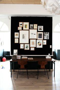 workspace. black wall.