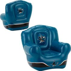 NHL San Jose Sharks Inflatable Chair by JF Sports Canada. $42.99. Unexpected guests at your game day party are a nice surprise, but what if you don't have enough chairs? Well, just blow up the NHL® lounge chair from JF Sports® and let the good times roll! It features a durable PVC construction and inflates easily using a small pump (pump not included). The team colors and logo boldly adorn the chair.