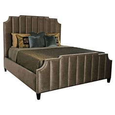 Tatra Modern Classic Mushroom Column Upholstered Queen Bed