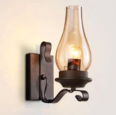 Modeen Industrial Vintage Frosted Glass Wall Sconces Retro Iron Metal Wall Light Bedroom Bedside Lamp Corridor Aisle Staircase Wall Lamp with Urn Shade Use 1 Edison Bulb in Black Dining Room Light Fixtures, Wall Light Fixtures, Wall Sconce Lighting, Wall Sconces, Wall Lamps, Hall Lighting, Wall Light Shades, Industrial Wall Lights, Modern Sconces