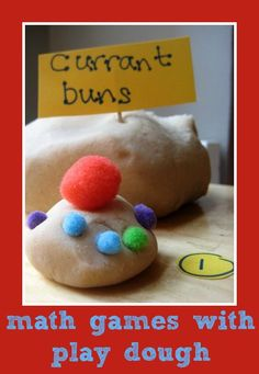 Math games with play dough : 5 current buns!
