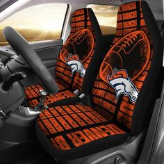 The Victory Denver Broncos Car Seat Covers - Car Seat Covers - Orange / Universal Fit Go Broncos, Denver Broncos Football, Broncos Fans, Broncos Cheerleaders, Football Memes, Football Season, Bronco Car, White Leather Dining Chairs, Sports Memes