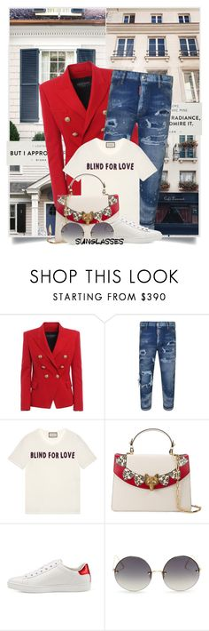 """""""Vintage Love: Retro Sunglasses"""" by tina-abbara ❤ liked on Polyvore featuring Balmain, Dsquared2, Gucci, Linda Farrow, vintage, balmain, gucci, dsquared2, LindaFarrow and RetroSunglasses"""