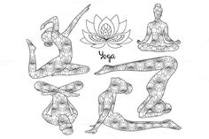 Yoga silhouette set. by Netkoff on @creativemarket