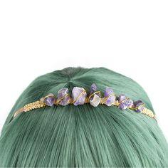 amethyst crystal crown headband