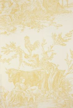 Chateau de Loir Toile Wallpaper Pastoral scenic Toile de Jouy wallpaper in yellow on off white, has matching fabric.