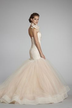 pink wedding dress by lazaro