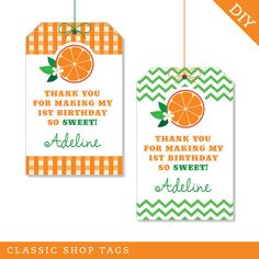 Orange Party - Custom DIY printable favor tags - Printed tags also available