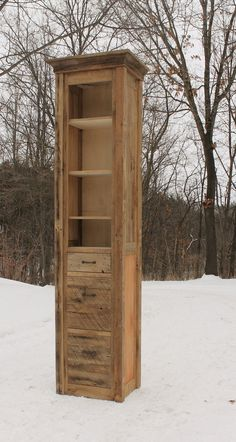 Rustic Linen Cabinet Reclaimed Barn Wood Unfinished by Keeriah