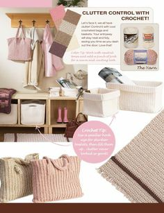 Clutter Control with Crochet! Free patterns for crochet bags and baskets.