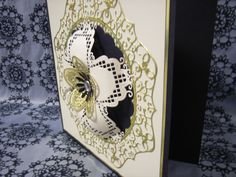 Tattered Lace Country Garden Collection, Cream & Gold Large Flower card using Tattered Lace Country Garden collection Eltham Ovals dies all sections of die set used. Base scalloped circle cut using Lifestyle crafts nesting scalloped circles dies..