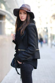 Zina from Fashion Vibe blog in black zip jacket, Balenciaga city bag and fedora hat - Winter outfit ideas and street style inspiration